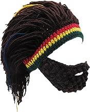 Xinqiao Men's Knit Beard Hats Reggae Hair Style Rasta Headgear Beanie Funny Hats