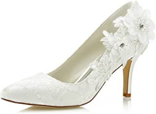 Mrs Right 1622 Women's Bridal Shoes Closed Toe Stiletto Heel Lace Satin Pumps Satin Flower Imitation Pearl Wedding Shoes
