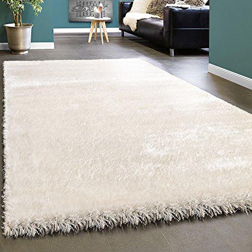 Paco Home Edler Teppich Shaggy Hochflor Einfarbig Flauschig Glänzend In Weiß, Grösse:200x290 cm