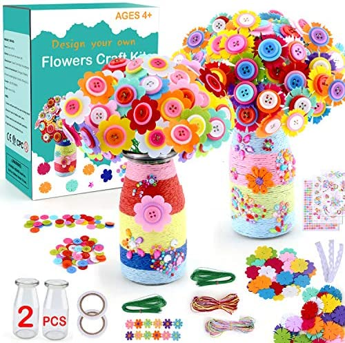 HULASO Crafts for Girls Ages 8 12 Make Your Own Flower Bouquet with Buttons and Felt Flowers product image