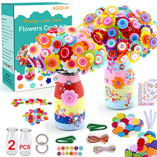 Flower Craft Kit for Kids Make Your Own Flower Bouquet with Buttons and Felt Flowers, DIY Vase Art and Craft for Girls Toy, DIY Christmas Birthday Gift for Girls and Boys Age 4-12 Years Old