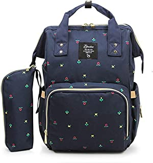 OMAS Oxford Waterproof Large Capacity Mummy Backpack Diaper Bag Travel Backpack Multi-Function Nappy Bags for Baby Care Blue Flower