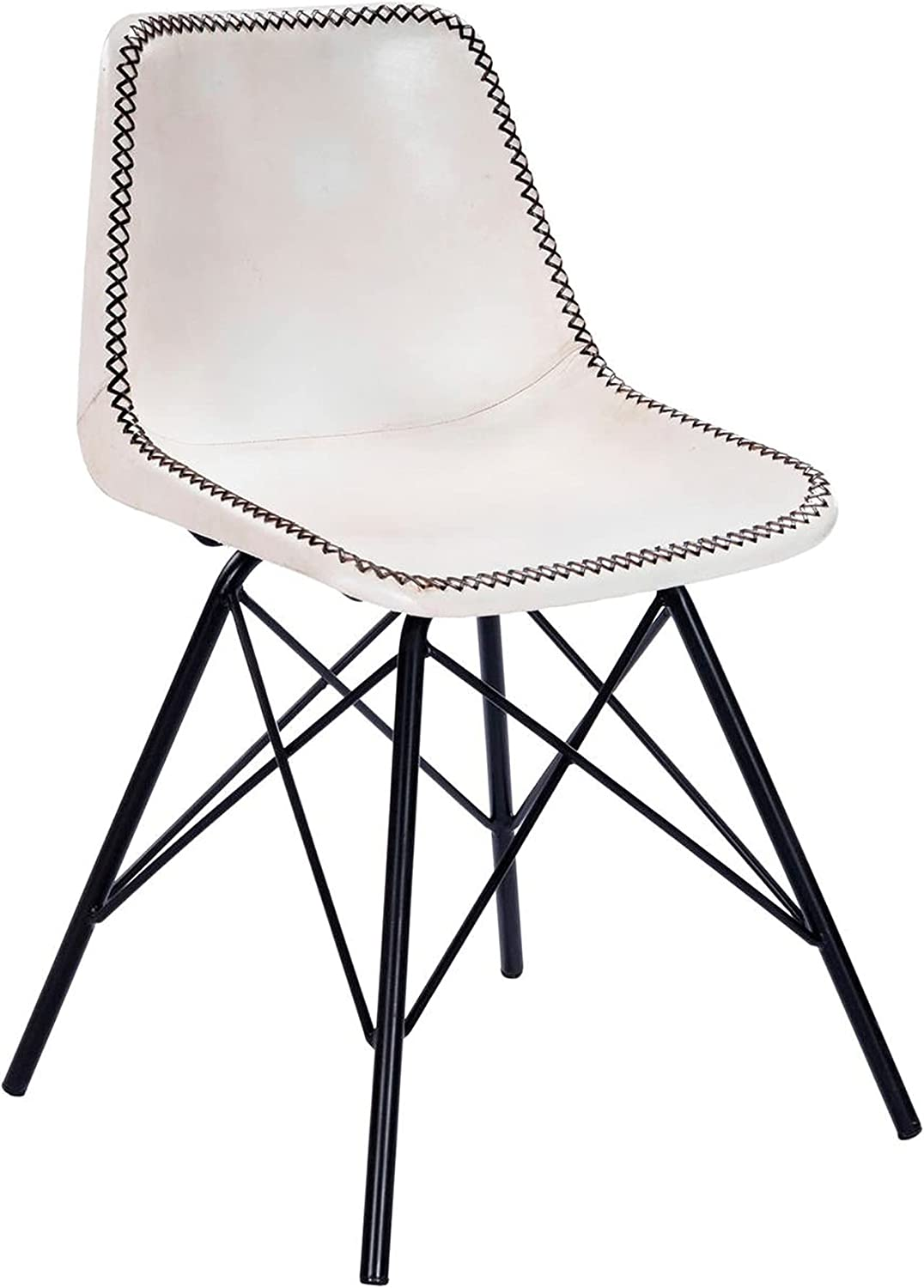 Offex Mid-Century Modern White Product and C Side Black Stitched Leather Seasonal Wrap Introduction