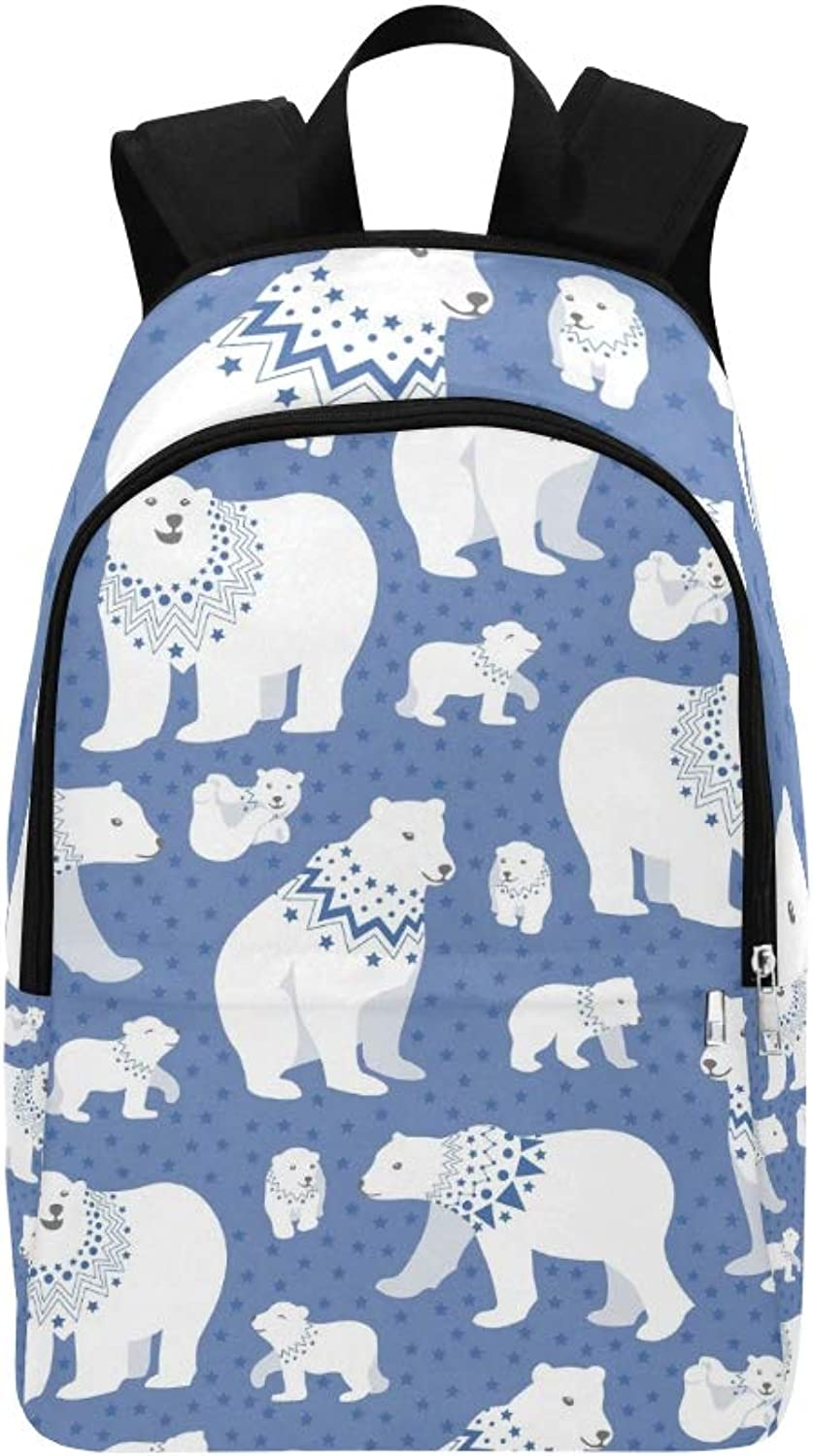 blueee Polar Bear Family Repeating Casual Daypack Travel Bag College School Backpack for Mens and Women