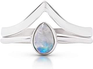 pear moonstone ring