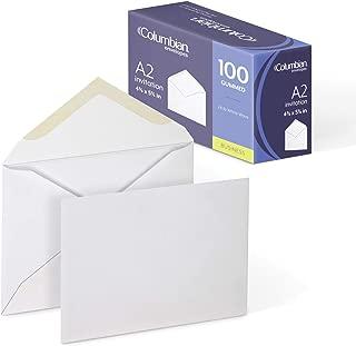 Columbian Invitation Envelopes, A2, 4-3/8 x 5-3/4 Inches, White, 100 Per Box (CO198)