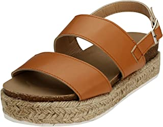 Espadrille Flatform Sandals, Women's Casual Ankle Buckle Strap Wedge Sandals Open Toe Slingback Summer Sandals Shoes (Brown,7.5 M US)
