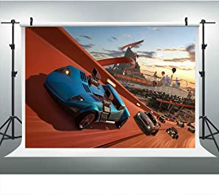 Forza Horizon Hot Wheels Race Backdrop for Party, Car Racing Roller Casters Kids Baby Party Background, 9x6FT, Photo Booth Studio Props DSLU294