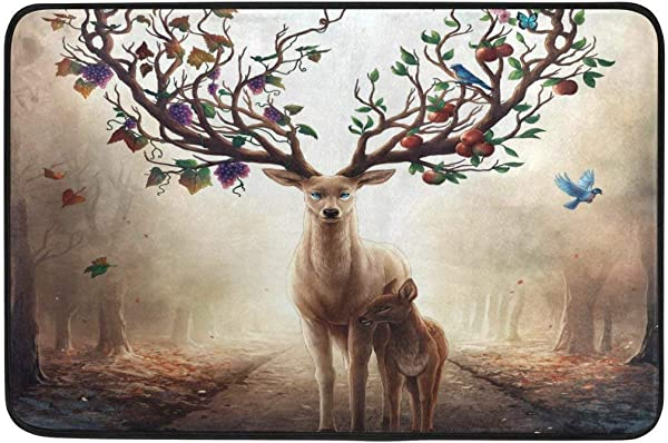 Cvhtr3m Animal Deer Bird Fruit Tree Doormat Home Indoor Door Mat Non Slip Entrance Mats Rugs For Bathroom Front Doormat 23 6x15 7inch