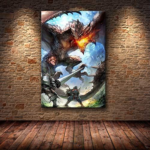H/F Juego Clásico Monster Hunter World Cartel De Lienzo De Arte HD DIY Estilo Nórdico Bar En Casa Decoración De Café Mural Pintura Al Óleo Sin Marco40X60Cm 6631L