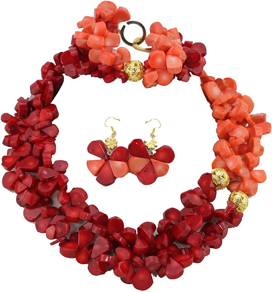 Africanbeads 2 Rows Red Max 90% OFF Pink Coral Nigerian Sets Jewelry Beads Great interest W