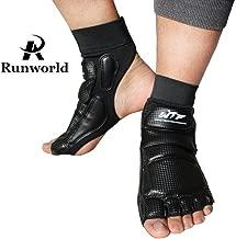 Runworld Taekwondo Training Boxing Foot Protector Gear Martial Arts Fight Muay Thai Kung Fu Tae Kwon Do Feet Protector TKD Foot Support for Men Women Kids Children