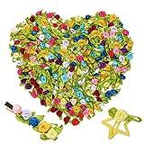 VINFUTUR 200pcs 1.5cm-Mini Flores Rosas Artificiales Pequeñas Decorativas Manualidad Rosas Falsas Seda Colores con Lazo Verde Cabezas de Flores Adornos para Fiesta Hogar DIY