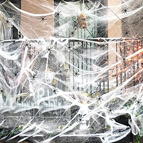 Halloween Decorations 40 g Stretch Cobwebs and 20 Small Spiders Halloween Party for Yard Garden (Stretch Cobwebs)