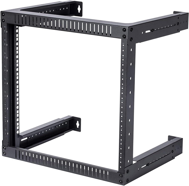 TECHTOO Wall Mount Rack 9U Adjustable Depth Open Frame 19Inch Server Equipment Rack Heavy Duty Patch Panel Bracket Network Equipment Rack (Adjustable 9U)