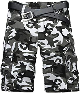Men's Cotton Camo Relaxed Fit Outdoor Casual Cargo Shorts with 8 Pockets