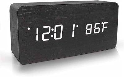 NAOZHONG Reloj Despertador Digital De Madera, Reloj De Control AcúStico Con Tiempo Temperatura Control De