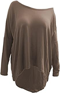 CHOCOLATE PICKLE New Womens Ladies Oversized Baggy Stretchy Off Shoulder High Low Dip Hem Tops 8-26