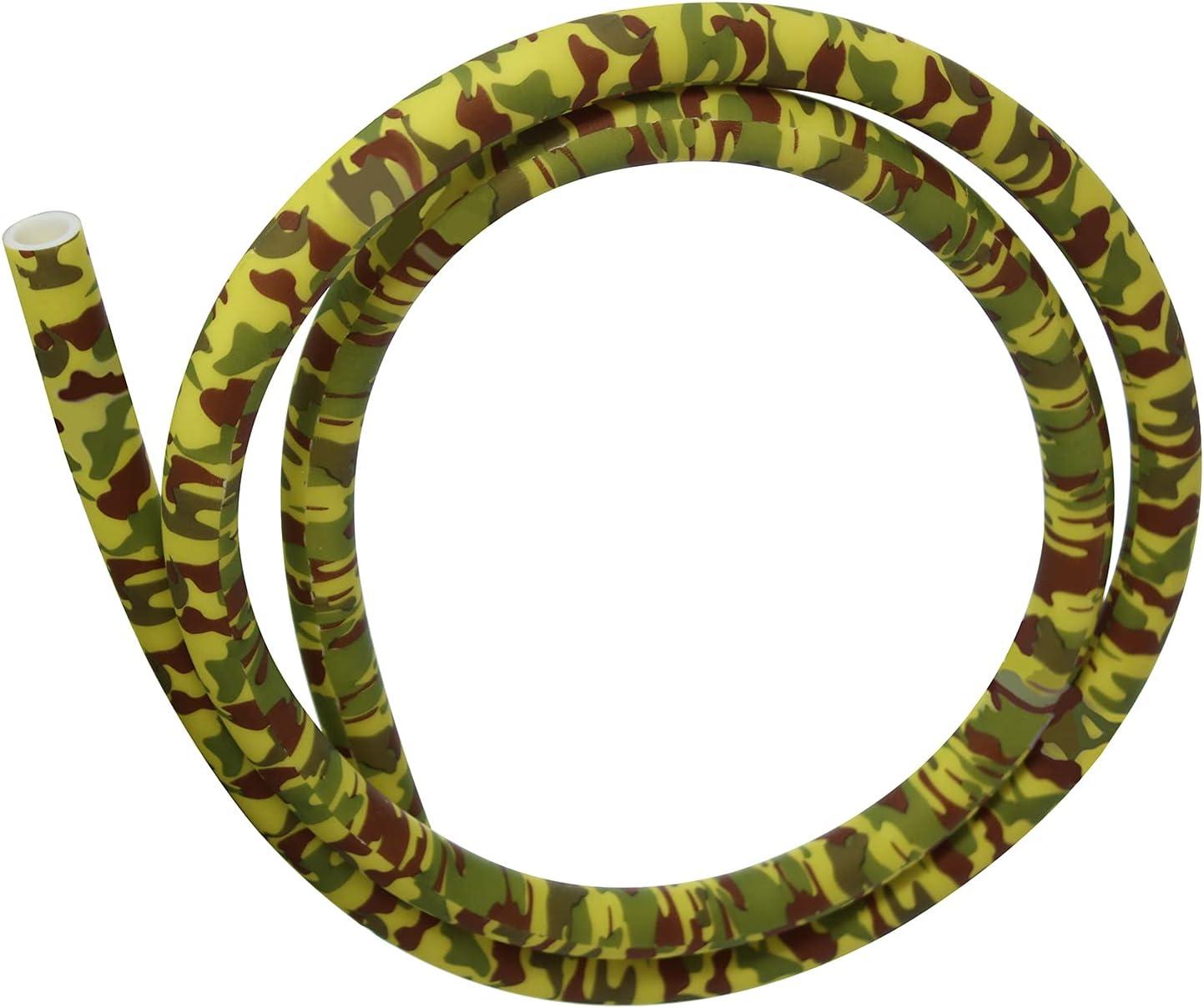 Manguera de silicona con patrón de camuflaje, 150 cm, compatible con todos los adaptadores y boquillas para shisha (amarillo).