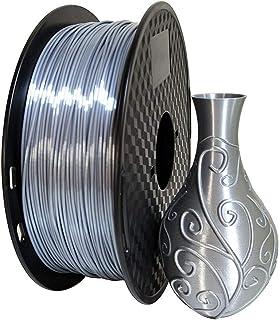 Kehuashina Silk Silver PLA 1.75mm 3D Printer Filament, Metal Metallic Color Gradient Filament 1KG (2.2LBS) Printing Materi...
