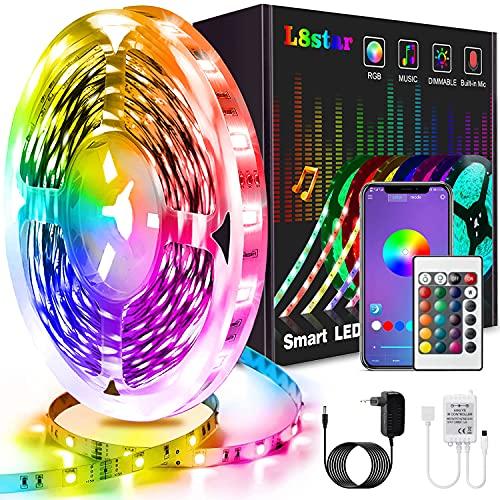 Tiras LED 5m, L8star Tiras de Luces LED Smart 5050 Control APP,Luces Led Habitacion con Controlador Bluetooth Sincronizar, con Música Solicitar TV Dormitorio
