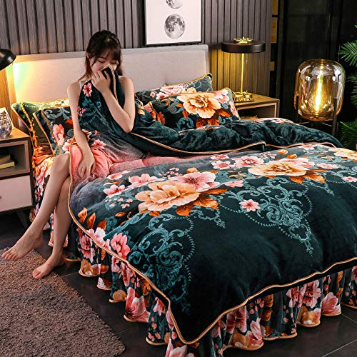 Shinon flanellete duvet cover-Bed skirt winter thick warmth flannel duvet cover single double bed single pillowcase Christmas bedding-HH_2.0m bed (4 pieces)