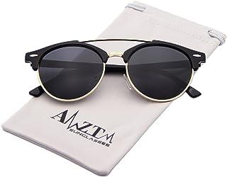 AMZTM Double Bridge Semi-brand Classic Retro Polarised Mirrored Round Sunglasses Women Men
