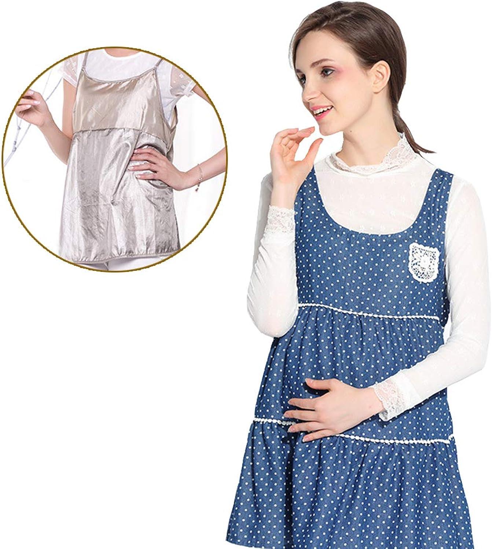 Maternity Suit, Radiation Predection Apron Vest Suit, Denim Coat + Real Silver Fiber Radiation Predection Strap Liner, Electromagnetic Shielding Rate of 99.999%