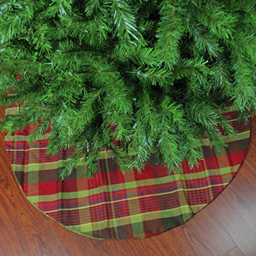 MIABE Tree Skirts Supplies for 48' Woodland Plaid Tree Skirt with Shimmer Green Trim for Home, Christmas Tree, Holiday Decoration and Special Events