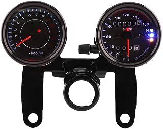 Qiilu Universal Tacómetro de 13000 RPM + Velocímetro Km/h con Indicador LED Odómetro de doble pantalla para 12V Motocicleta Motos