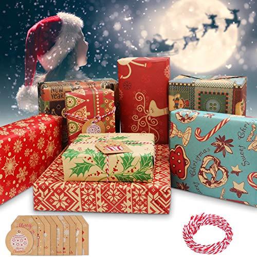 Telgoner Geschenkpapier Weihnachten, 10 Stück recyceltes Weihnachtspapier Blatt 70x50CM, 8 Arten Kraft Geschenkpapier-Set, inklusive 10 Stück Weihnachtskarten Tags & 5 Meter roter Baumwollfade