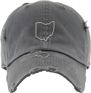 Ohio Map Outline Dad Vintage Baseball Cap Embroidered Cotton Adjustable Distressed Dad Hat