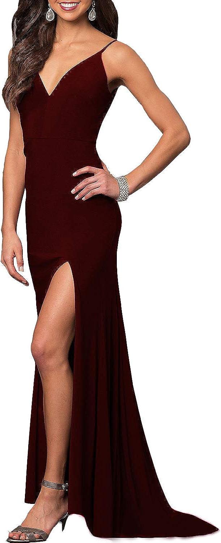 CCBubble Women's Mermaid Bridesmaid Dresses Split Side Long Formal Evening Party Dress CXY787