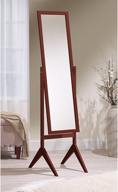 Mirredek Adjustable Free Standing Tilt Full Length Body Floor Mirror, Cheval Style Tall Mirror, Cherry