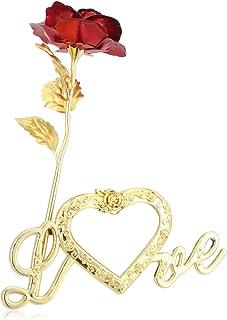 هدية رومانسية  وردة حمراء بلاستيكية مع قاعدة لاضافة الصور لعيد الحب و الزواج