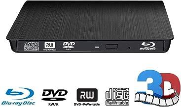External CD DVD Blu-ray Drive,External Blu-ray 3D BD Player CD / -RW DVD +/- RW BD-ROM Burner for MacBook Laptop PC/Windows 10/8/7 / XP/Vista