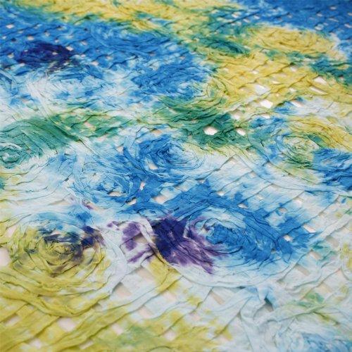 Hans-Textil-Shop Stoff Meterware Netz Blumen Türkis Gelb Baumwolle - Für Deko oder Dirndl - 1 Meter