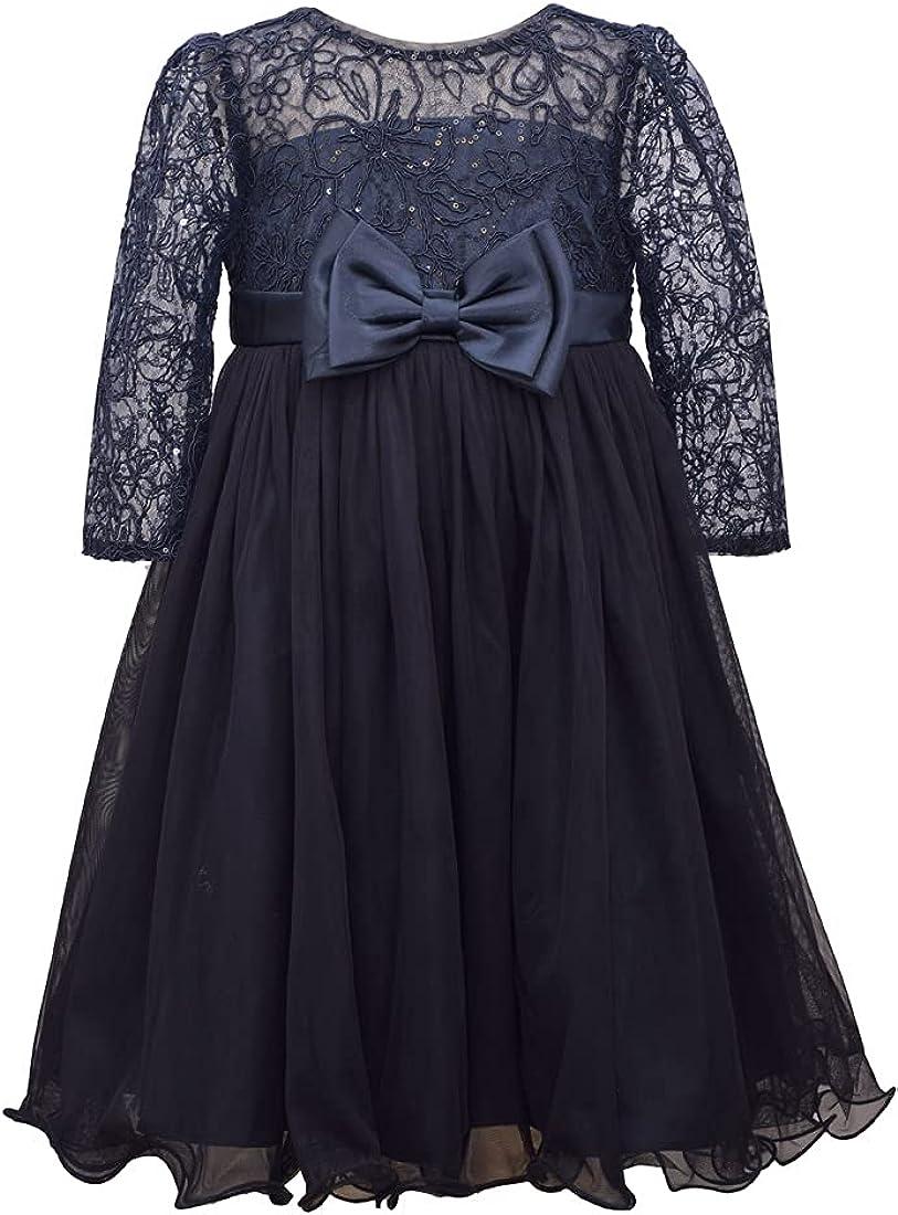 Bonnie Jean Kid Girls 4-16Years Bowed Waist Lace Tulle Holiday Party Dress. -Girls Holiday Party Dress (Navy, 6X)