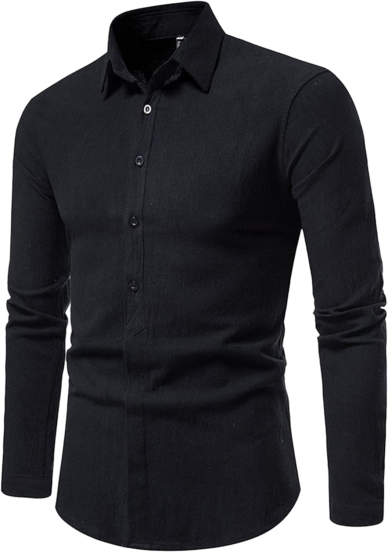 FORUU Slim Fit Dress Shirts 2021 Fall Work Shirt Casual Solid Long Sleeve Shirts Button Down Shirt Turn-Down Collar Tops