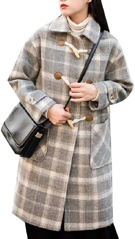 Winme Women Woolen Horns Panelled Thick Fashion Jacket Pea Coat Jacket