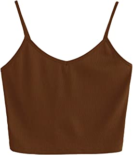 SHEIN Women s Casual V Neck Sleeveless Ribbed Knit Cami Crop Top