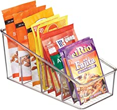 mDesign Large Plastic Food Packet Organizer Caddy for Fridge or Freezer- Storage for Kitchen, Pantry, Cabinet, Countertop - Spice Pouches, Dressing Mixes, Hot Chocolate, Rice, Taco Seasoning - Clear