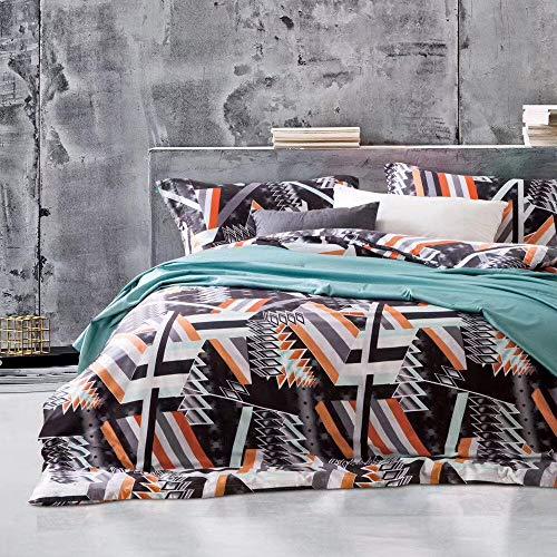 Fansu Elegant Bedding Set, Chic Printed Duvet Set Quilt Case Pillow Case - Boys Girls Bedroom Microfiber Duvet Cover Set for Double King Single Bed (Black geometry,200x200cm)