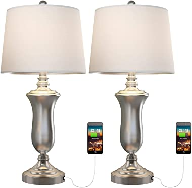 Oneach Modern USB Table Lamp Set of 2 for Living Room Bedroom Brush Steel Bedside Nightstand Lamps with White Drum Shade