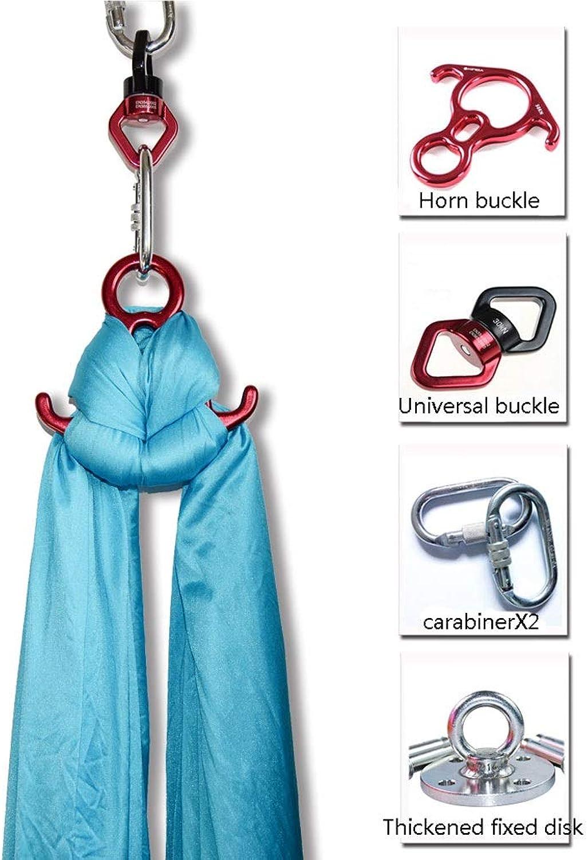 10M Aerial Yoga Silks Deluxe Equipment Set, Medium Stretch Silk for Acrobatic Dance Aerial Yoga Hammock, Includes Premium Tricot Silks, Hardware (color   blueee)