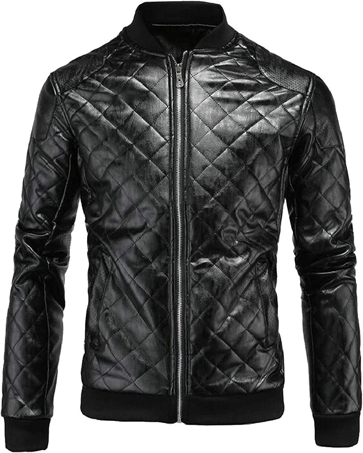 1bc90bfae QD-CACA Men's Men's Men's PU Faux Leather Jacket Bomber Fashion Slim Fit  Coat e91d7c