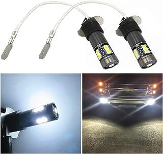 WLJH 2pcs H3 LED Fog Light Bulb Extremely Bright White 3030 Chipsets 12V 24V Replacement for LED Fog DRL Lights Lamp