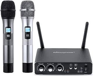 Micrófono inalámbrico profesional, micrófono dual profesional con receptor de micrófono 2 micrófono inalámbrico de mano 25 canales UHF Bluetooth con caja receptora