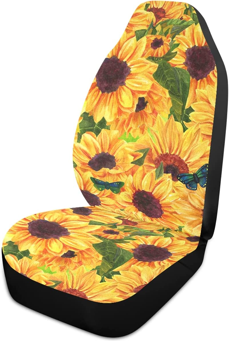 Oarencol Sunflower Butterfly Yellow Vintage Car Univ Special sale Manufacturer OFFicial shop item Covers Seat