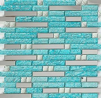 Hominter 11-Sheets Aqua Backsplash Tile for Kitchen Bathroom Shower and Accent Walls Silver Stainless Steel & Glass Rhinestone Mosaic Mirrored Metal Wall Back Splash Interlocking H20